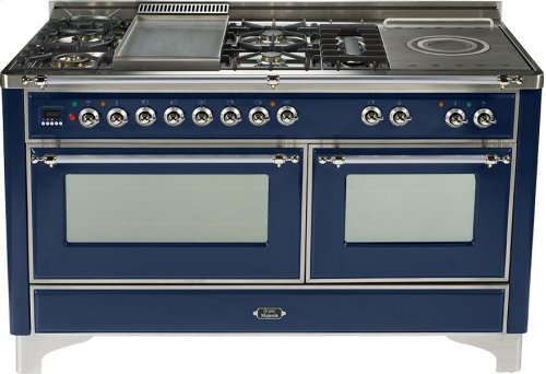 Midnight Blue with Chrome trim - Majestic 60-inch Range with French Cooktop