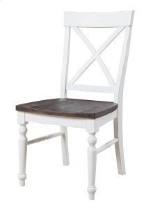 X-back Dining Chair Antique White W/dk Brown Wood Seat Set Up