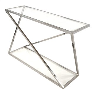 Marcio Console Table with Glass, Stainless Steel