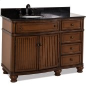 """48-1/2"""" vanity with Walnut painted finish, simple bead board doors, and curved shape with preassembled top and bowl."""