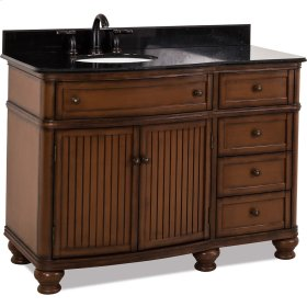 """48"""" vanity with walnut finish and simple bead board doors and curved shape with preassembled top and bowl."""