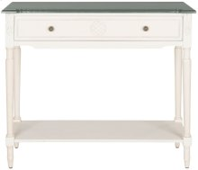 Jenel White Console Table With Storage Drawer - Antique White And Dark Brown Top