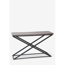 Cross console table with metal frame..Dimension: 51X18X32