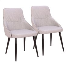 Alden Dining Chair - Set Of 2 - Black Metal, Grey Pu