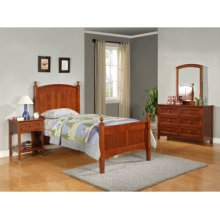 "Parker ""Cinnamon"" Twin Bedroom - 360-038 Twin Bed, 360-006 6-Drawer Dresser, 360-021 Mirror & 360-028 Nightstand"