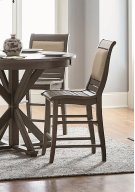 Upholstered Counter Chair (2/Carton) - Distressed Dark Gray Finish Product Image