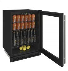 """1000 Series 24"""" Glass Door Refrigerator With Stainless Frame Finish and Field Reversible Door Swing"""