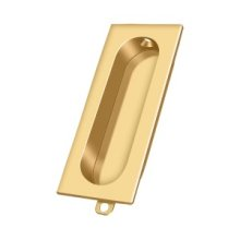 """Flush Pull, Rectangle, 3-1/8""""x 15/16"""" - PVD Polished Brass"""