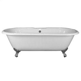 "Columbus 61"" Cast Iron Double Roll Top Tub - No Faucet Holes - Bisque"