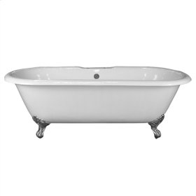 "Columbus 61"" Cast Iron Double Roll Top Tub - No Faucet Holes - White"