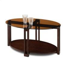 Oval Bronze Glass Top Contemporary Coffee Table #10012-CH