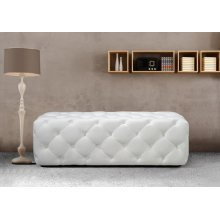 Divani Casa Maria Modern White Eco-Leather Bench