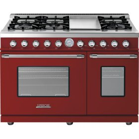 Range DECO 48'' Classic Red matte, Chrome 6 gas, griddle and 2 gas ovens