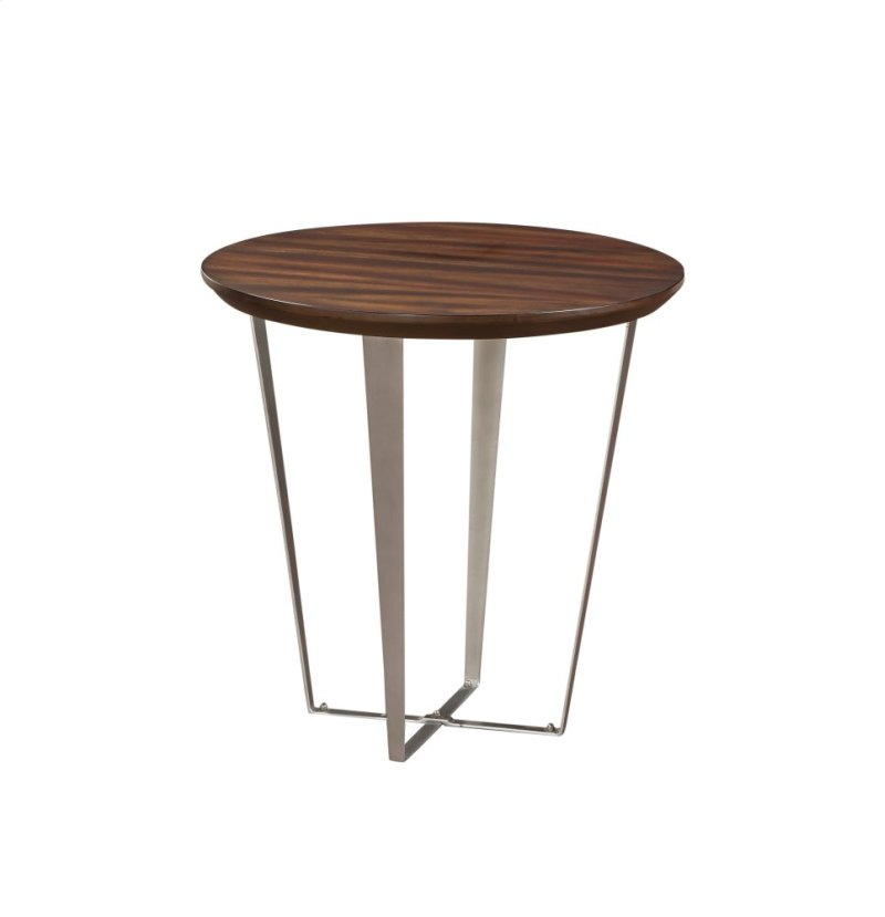 Emerald Home Cruiser Round End Table Brown Wood Top W Silver Metal Base T117