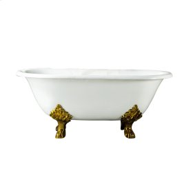 """Dawson 61"""" Cast Iron Double Roll Top Tub - No Faucet Holes - Polished Brass"""