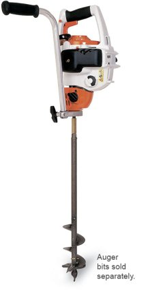 A gasoline-powered earth auger that is great for mass flower plantings or deep root fertilization.