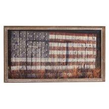 Framed Slat American Flag on Barn Wall Decor.