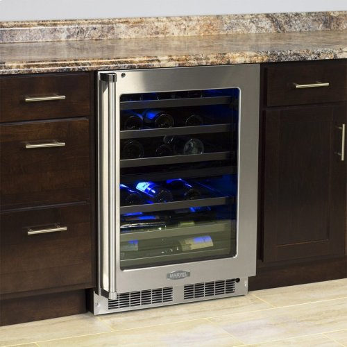 """Marvel Professional 24"""" High Efficiency Dual Zone Wine Refrigerator - Stainless Frame, Glass Door With Lock - Integrated Right Hinge, Professional Handle"""