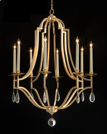 Gold-Leaf and Crystal Chandelier