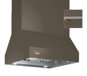 """42"""" Wide Island Hood, Brass Accessory Rail on front and back"""