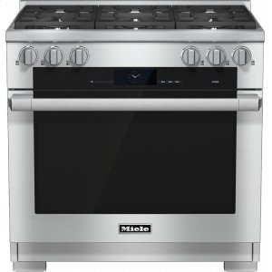 MieleHR 1934-2 G 36 inch range Dual Fuel with M Touch controls, Moisture Plus and M Pro dual stacked burners