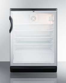 """Commercially Listed 5.5 CU.FT. Counter Height Beverage Center In A 24"""" Footprint, With Black Cabinet, Glass Door, and Lock"""