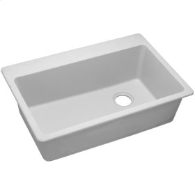 "Elkay Quartz Classic 33"" x 22"" x 9-1/2"", Single Bowl Top Mount Sink, White"