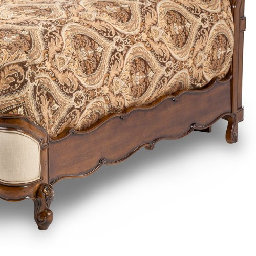 Queen Wing Mansion Bed W/fabric Inserts