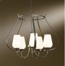 "Flora; Chandelier: Flora with five arms and glass options; includes 5"" dia. canopy kit with 15' wire and 3' chain."