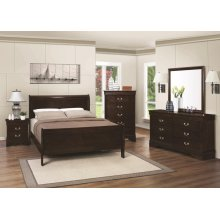 Louis Philippe Traditional Cappuccino Twin Five-piece Bedroom Set
