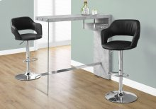 """HOME BAR - 48""""L / GREY CEMENT / CHROME / TEMPERED GLASS"""