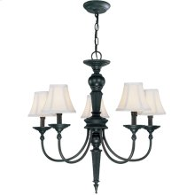 5 Lites Chandelier - Dark Bronze/fabric Shade, E12 B 60wx5