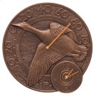 "Mallard Duck 14"" Indoor Outdoor Wall Clock & Thermometer - Antique Copper Product Image"