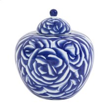 Blue and White Abstract Rose Ceramic Jar