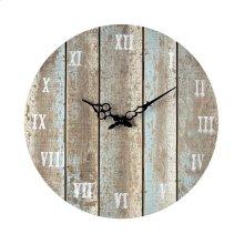 Wooden Roman Numeral Outdoor Wall Clock in Below Light Blue