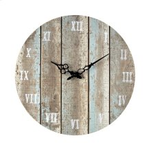 Wooden Roman Numeral Outdoor Wall Clock in Below Light Blue