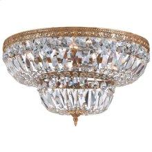 6 Light Clear Hand Cut Brass Ceiling Mount