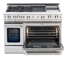 "48"" four open top burner gas self-clean range w/ 24"" Thermo-Griddle+ convection oven - NG"