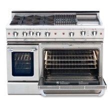 """48"""" four open top burner gas self-clean range w/ 24"""" Thermo-Griddle+ convection oven - LP"""