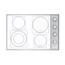 """Stainless Steel/White Glass 30"""" Induction/Radiant Cooktop - VCCU (30"""" wide, 2 induction elements and 2 radiant elements)"""