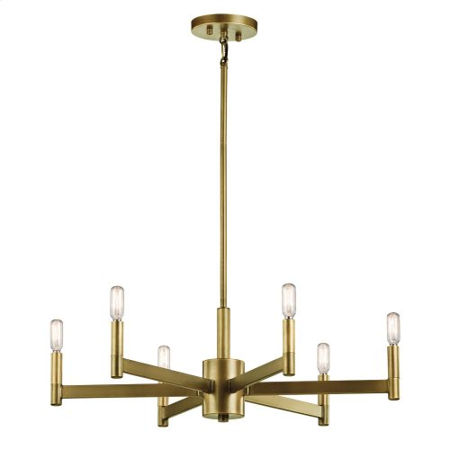 Erzo Collection Erzo 6 Light Chandelier in Natural Brass