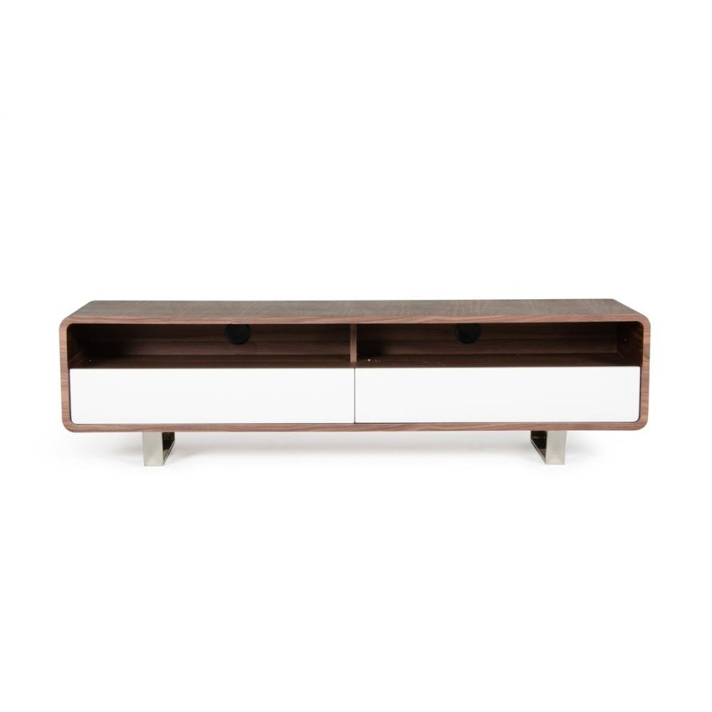 Modrest Avis Modern Walnut & White TV Stand
