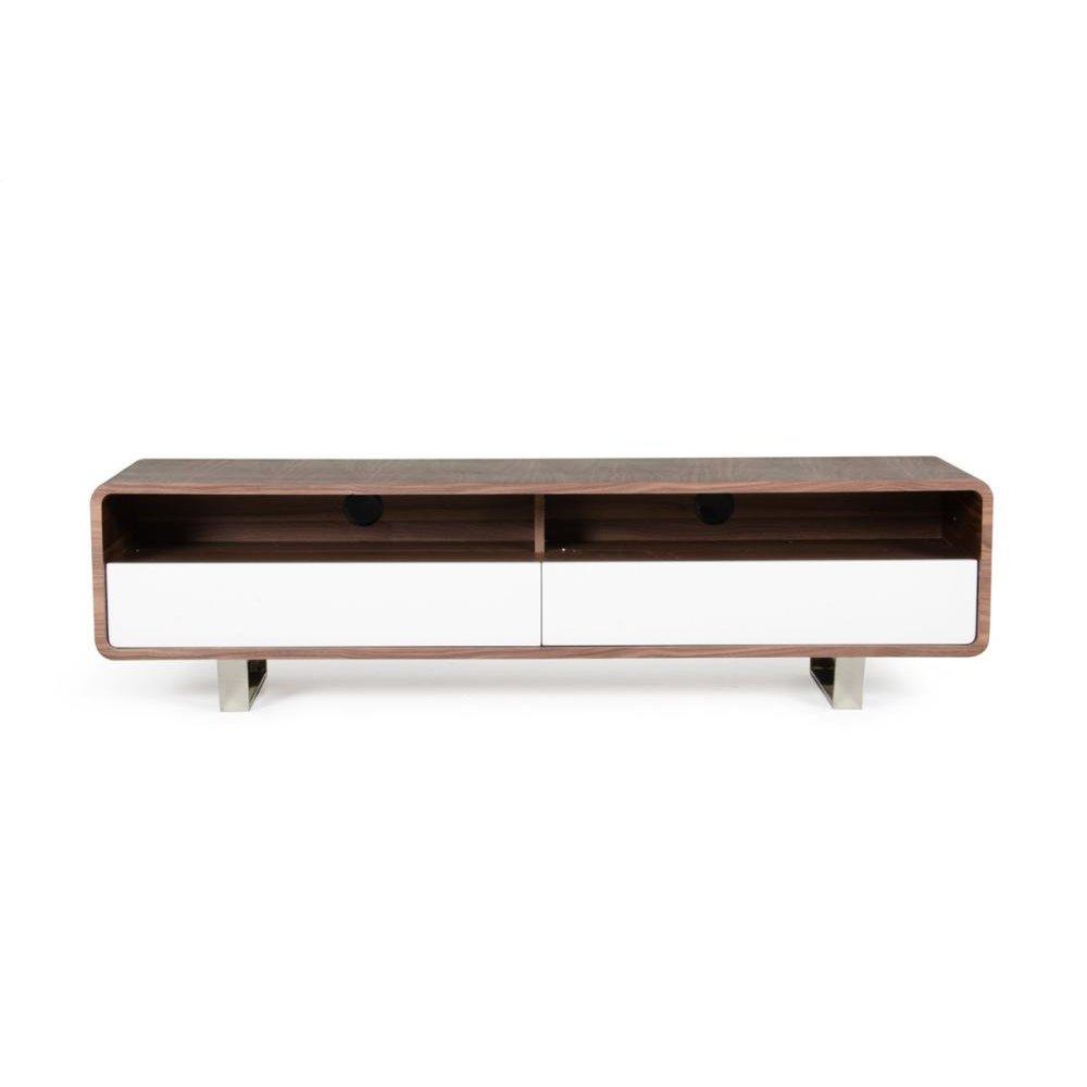 Modrest Avis Modern Walnut & White TV Stand