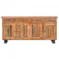 Mango Wood Mobile Storage Console Product Image