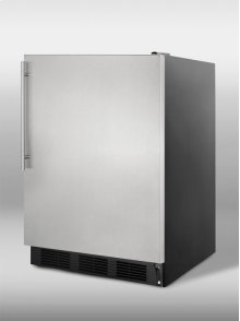 Commercially approved built-in undercounter freezer with black cabinet, stainless steel door and thin handle, for built-in or freestanding use