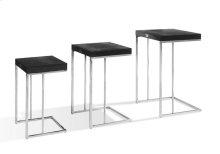 A&X Amelia - Modern Black Crocodile Lacquer Nesting Table Set