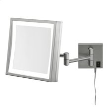 Polished Nickel Square LED Lighted Wall Mirror