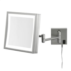 Brushed Nickel Square LED Lighted Wall Mirror