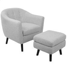 Rockwell Chair + Ottoman Set - Black Wood, Light Grey Noise Fabric