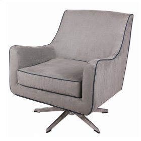 Zora KD Fabric Swivel Arm Chair Stainless Steel Legs, Denim Dove